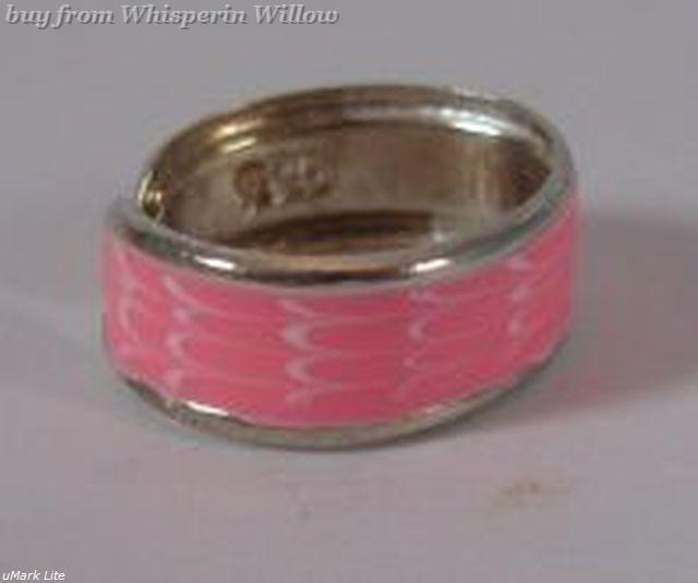 Pink Epoxy Painted Silver Plated Toe Ring