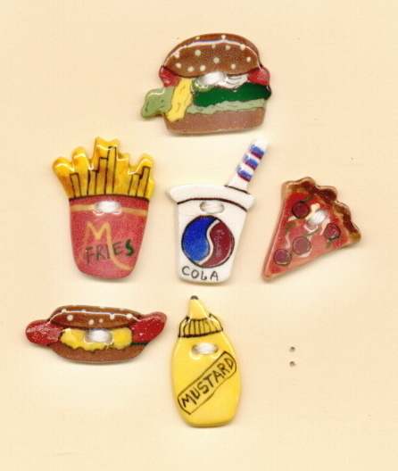 Decorative Handmade Ceramic Button     JUNK FOOD Series
