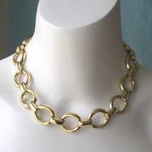 Chunky Vintage Circle Link Necklace Choker - $40.00