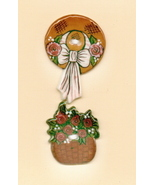 Decorative Handmade Ceramic Button     Bonnet and Red Roses  - $4.00