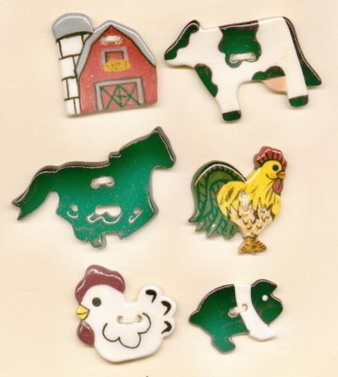 Decorative Handmade Ceramic Button     Farm Series