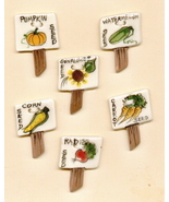 Decorative Handmade Ceramic Button     Vegetable Stakes - $12.00