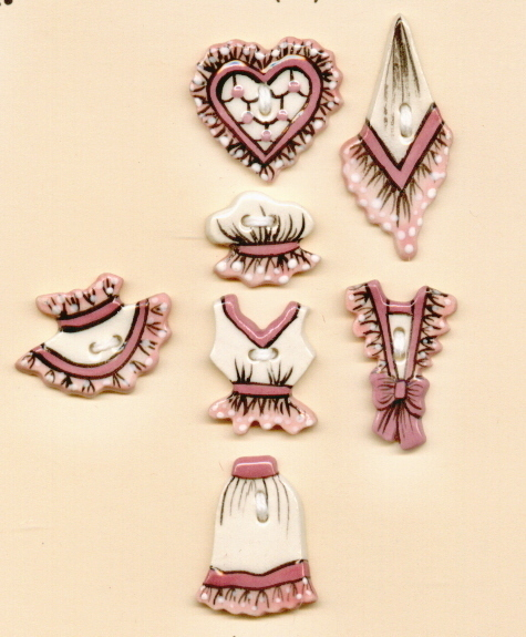 Decorative Handmade Ceramic Button     Victorian Clothing  S