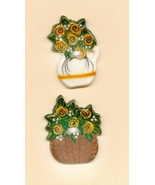 Decorative Handmade Ceramic Button    Yellow Roses - $4.00