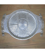 Vintage Hammered Aluminum Glass Relish Tray Hand Wrought Rod - $30.00