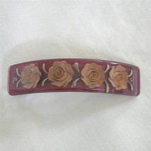 Vintage Reverse Carved Lucite Barrette Hair Clip - $50.00