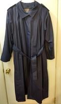 London Fog Maincoats Womens Lined Trench Rain Coat Navy Blue Size 14 Reg  - $43.00