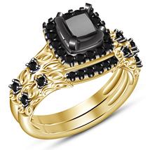 Women's Bridal Ring Set Princess Cut Diamond Yellow Gold Plated Pure 925... - $88.99