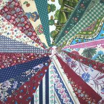 4 Inch Precut Vintage Fabric Quilt Squares Kit Wine Green Fabrics - $12.00