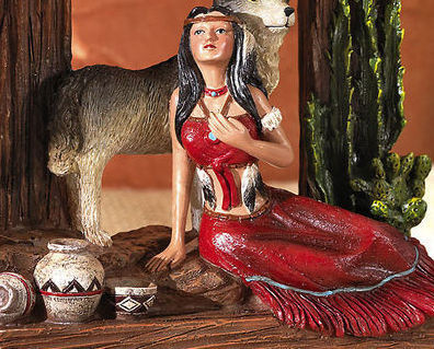 Indian Southwest Decorative Wolf Dream Catcher Tabletop Clock