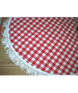 """Vintage Cotton Tablecloth 50"""" Round Red and White Checkerboa - $32.00"""
