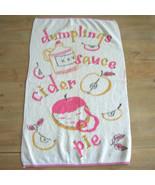 Vintage 50s Shabby Cottage Dish Towel Dumplings Sauce Cider  - $10.00