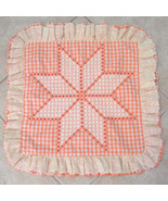Vintage Ruffled Candlewick Pillow Sham Cover Zip Back Orange - $20.00