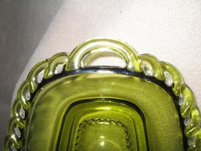 Avocado Green Butter Dish Base Lace Edge