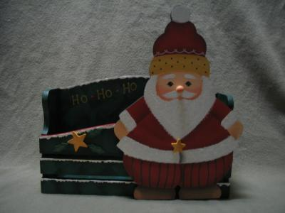 Wooden St Nick Card Holder Santa Clause Christmas NIB