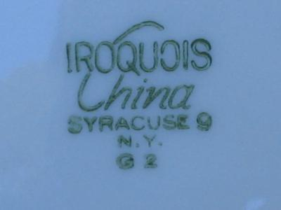 4 Iroquois China Heavy Dinner Plates Burgundy Stripe