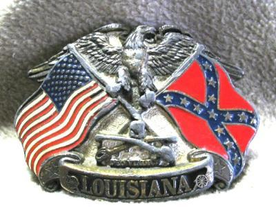 Louisiana Belt Buckle Eagle American Confederate Flags