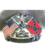 Louisiana Belt Buckle Eagle American Confederate Flags  - $15.00