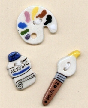 Decorative Handmade Ceramic Button    Artist Series