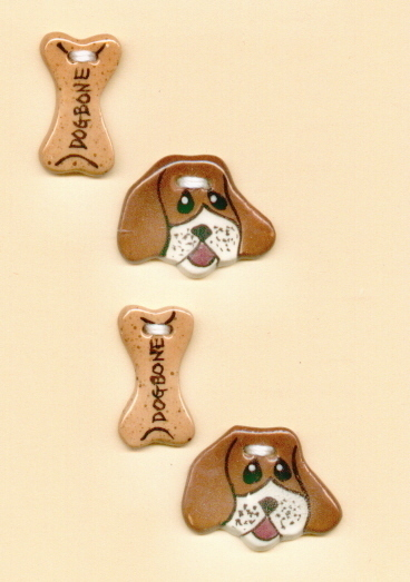 Decorative Handmade Ceramic Button      HOUNDDOG and BONE Se