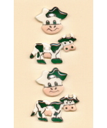 Decorative Handmade Ceramic Button    COUNTRY COWS - $8.00