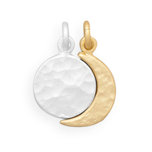Sterling Silver Full Moon and Gold Plated Crescent Moon Charm Set - €42,13 EUR