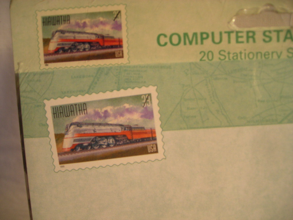 USPS Hiawatha Train Stationary Railroad Stamp 8-1/2x11