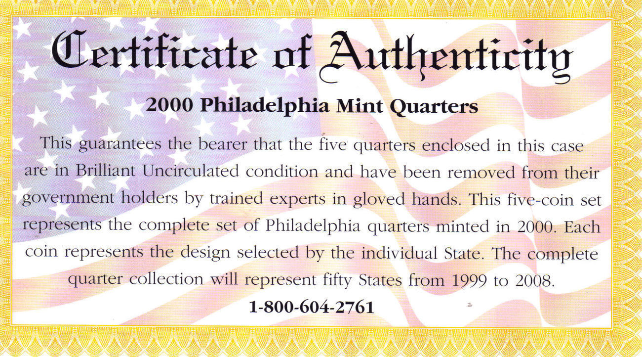 2000 PHILADELPHIA  MINT EDITION STATE QUARTER COLLECTION