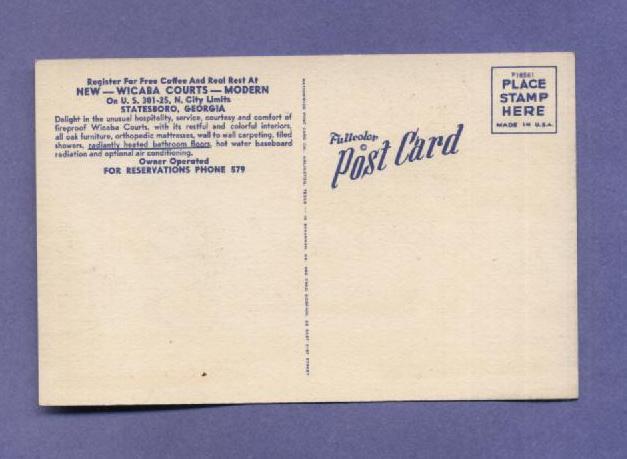 Vintage Linen Postcard Wicaba Courts Statesboro GA Hotel Motel Unused