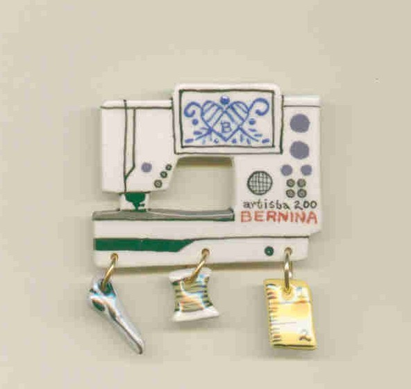 Ceramic Sewing Machine Pin  Bernina  200 Handcrafted