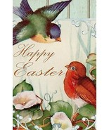 Happy Easter Spring Flowers Birds Garden Flag Emotes Double Sided Yard Banner - $17.14 CAD