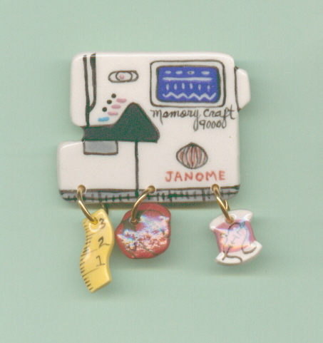 Ceramic Sewing Machine Pin  Janome 9000 Handcrafted