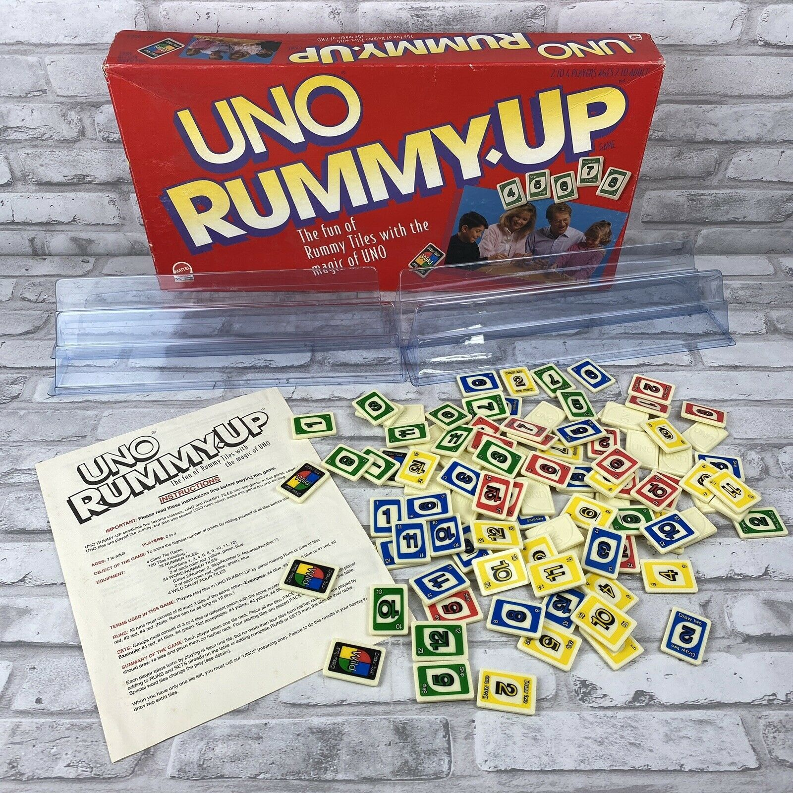 Uno Rummy-Up Tile Game Fun Of Rummy Tiles With The Magic Of Uno 1993 Complete - $22.24
