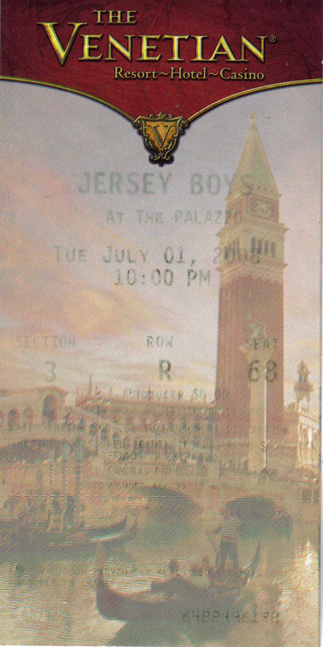 THE JERSEY BOYS Concert Ticket Stub - VENETIAN 2008