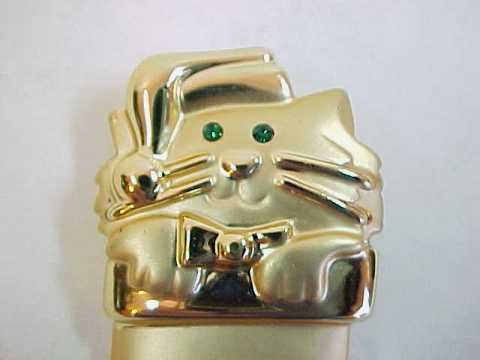 Kitty Cat Kitten in Christmas Stocking Pin Brooch Signed A.J.C.