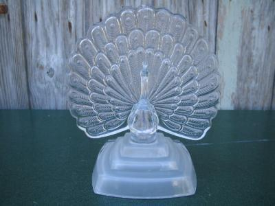 Crystal Peacock Frosted Base Figurine Centerpiece