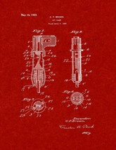 Bit Clamp Patent Print - Burgundy Red - $7.95+