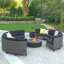 Stylish Sectional Sofa with Gas Fire Pit Table Set Large Patio Outdoor S... - £2,132.61 GBP