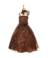 Brown Layered Crystal Organza Sequin Floral Embroidery and Beads Girl Dress - $48.00+