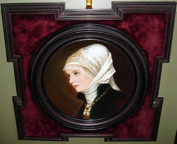 European Beauty Framed Hand Painted Porcelain Plate