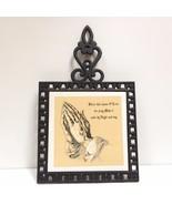 Trivet Wall Hanging Cast Iron Ceramic Tile Blessing Bless this house VTG... - $19.79