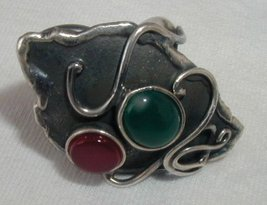 Black silver ring with red and green stones - $35.00