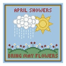 April Showers Bring May Flowers PDF cross stitch chart John Shirley new designer - $89,02 MXN