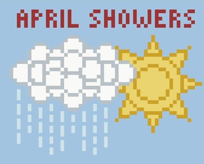 April Showers Bring May Flowers PDF cross stitch chart John Shirley new designer