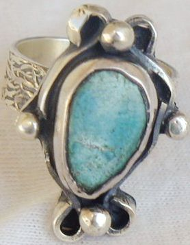 Pressed Eilat stone ring