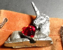 Spoontiques Pewter Unicorn with Red Sparkly Heart 1981 M147 Rogers Jewel... - $14.99