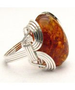 New Wire Wrap Amber Silver Ring Free Shipping - $51.00