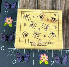 Stampin Up! Happy Birthday Rubber Stamp 2004 Gifts Presents Background #K45 - $2.23