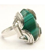 New Wire Wrap Malachite Silver Ring Free Shipping - $72.00