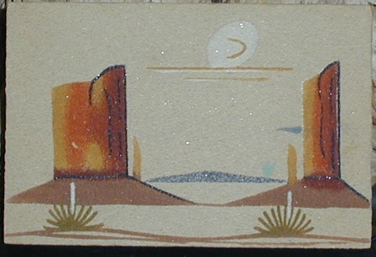 Navajo Sand Painting Monument Valley Signed